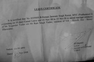 Jaswant Singh Rawat letter