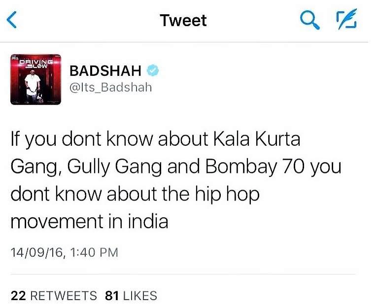 Badshah Twitted