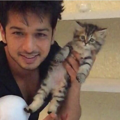 Fahad Ali with his cat
