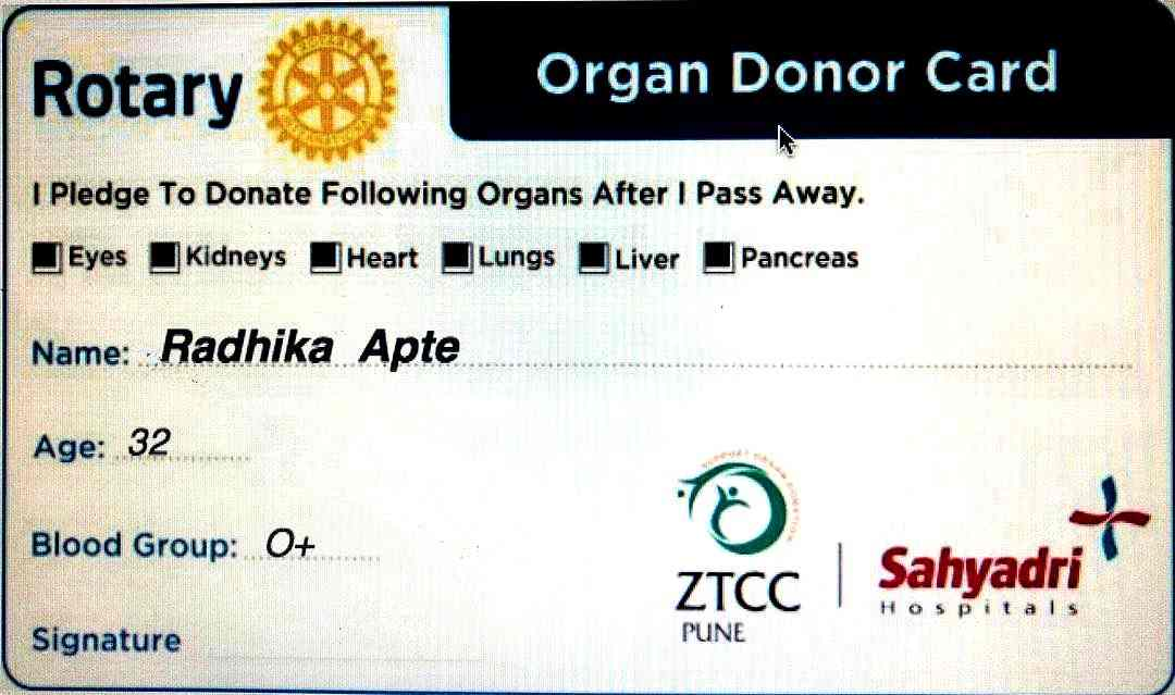 Radhika Apte organs donor card