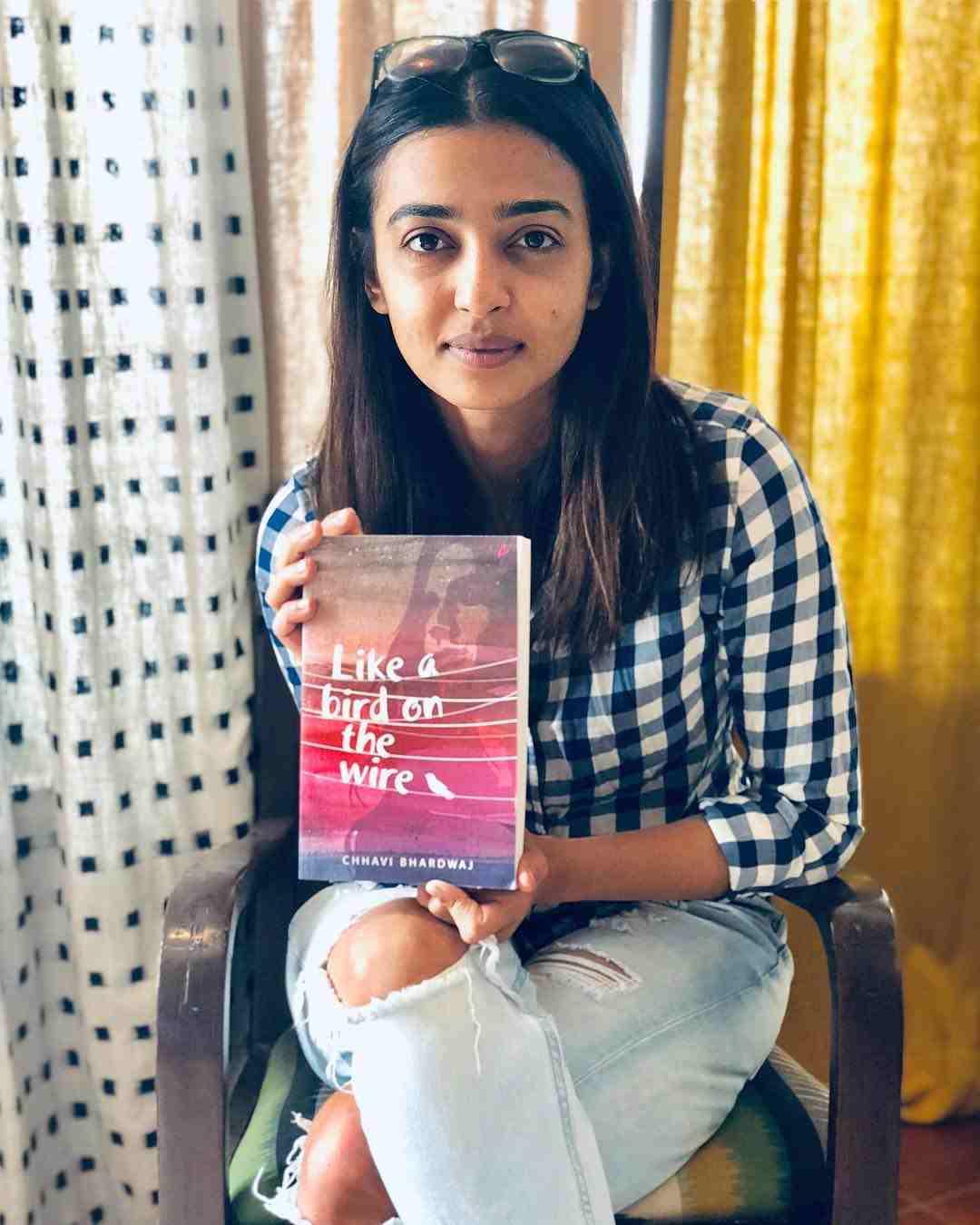 Radhika Apte with the novel Like A Bird On The Wire