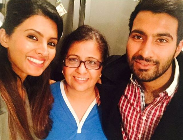 Geeta Basra with her mother and brother