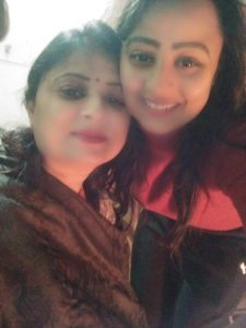 Mridula Mahajan with her mother