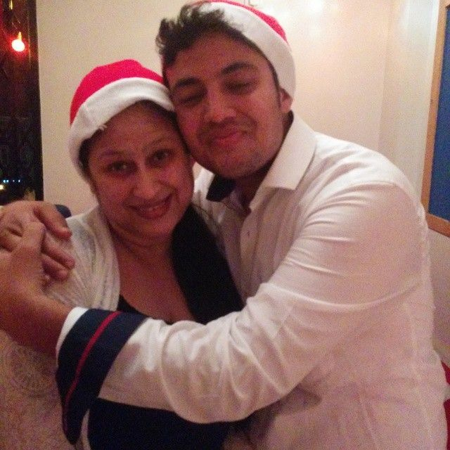 Prasad Jawade with his mother
