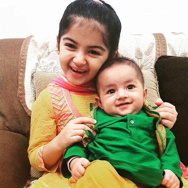 Saisha Bajaj with her brother