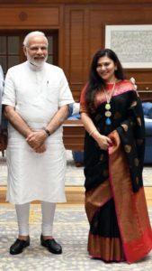 Deepika Chikhalia with Narendra Modi