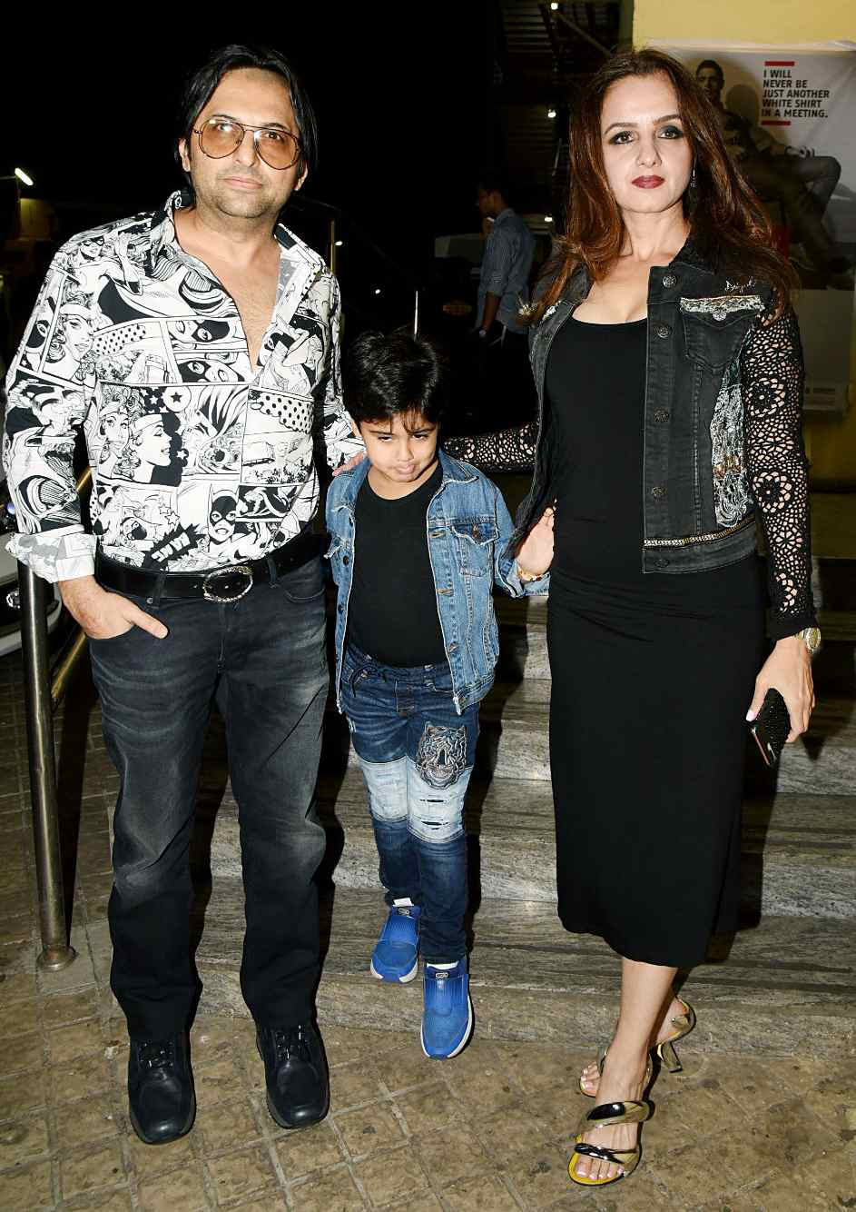 Farhan Furniturewala with his wife Laila Khan and son