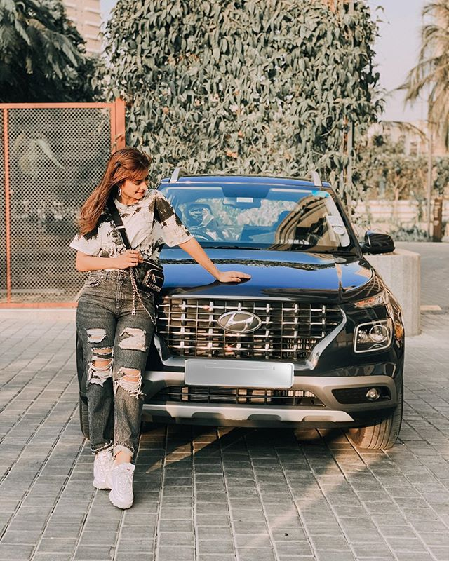Nagma Mirajkar with her car