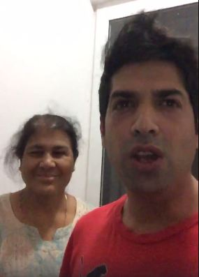 Naved Qureshi with his mother