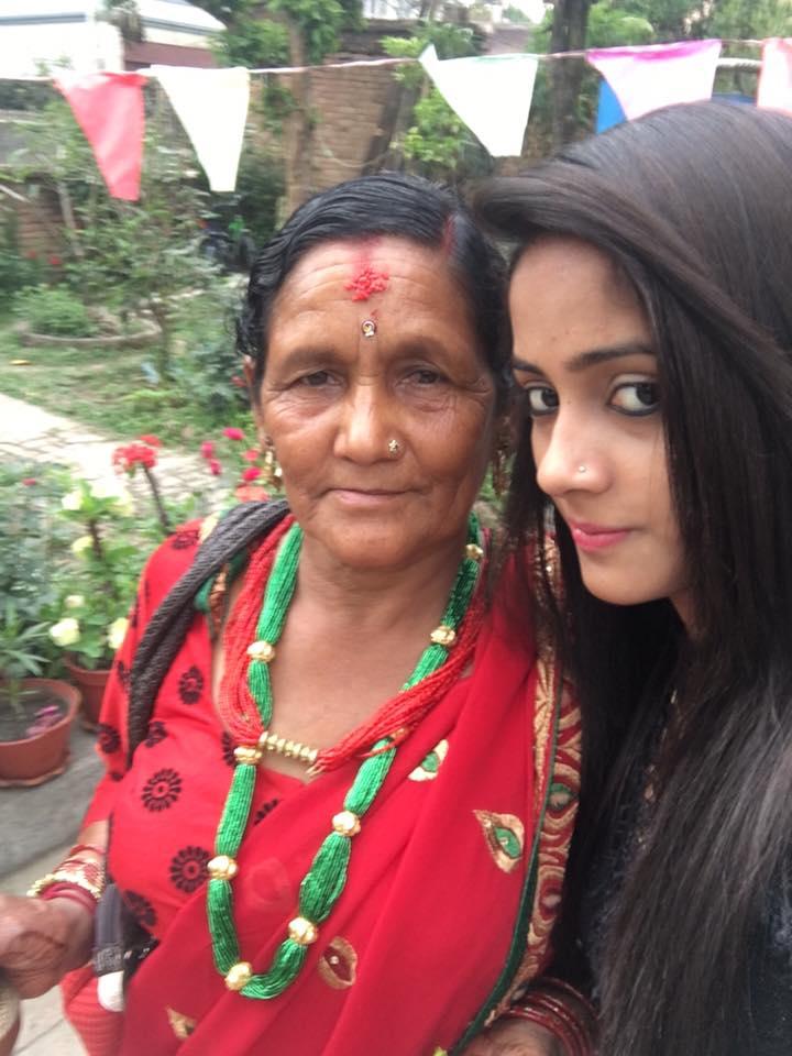 Nisha Guragain with her maternal grandmother