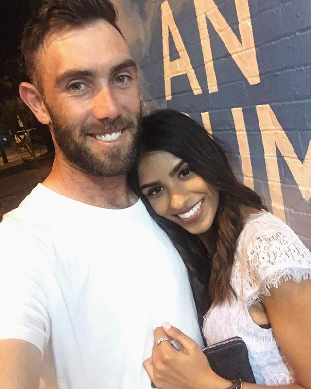 Vini Raman with her husband Glenn Maxwell