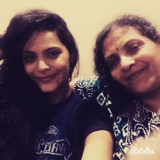 Anuja Sathe with her mother