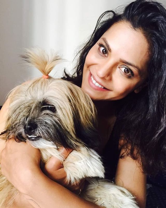 Anuja Sathe with her pet dog