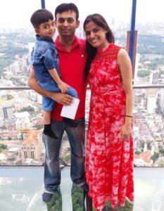 Jyoti Taneja Bhasin with her husband and son