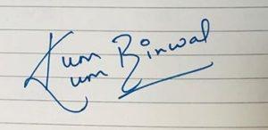 Kumkum Binwal Signature