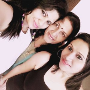 Kumkum Binwal with her mother and sister