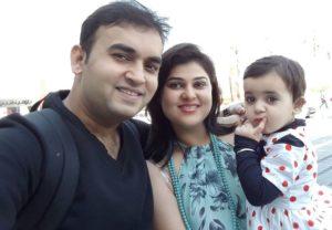 Nidhi Vasandani with her husband and daughter