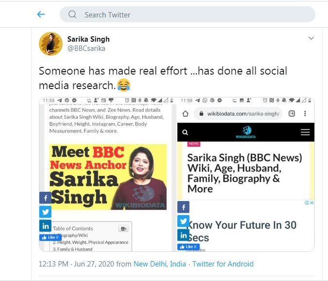 Sarika Singh Twitter