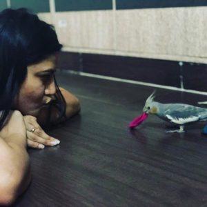 Sherry Sheerin with her pet bird