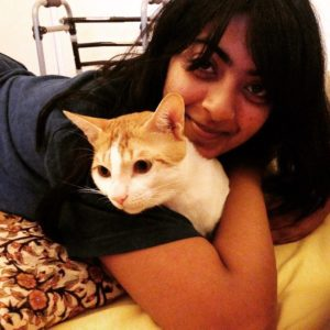 Zayn Marie Khan with her pet