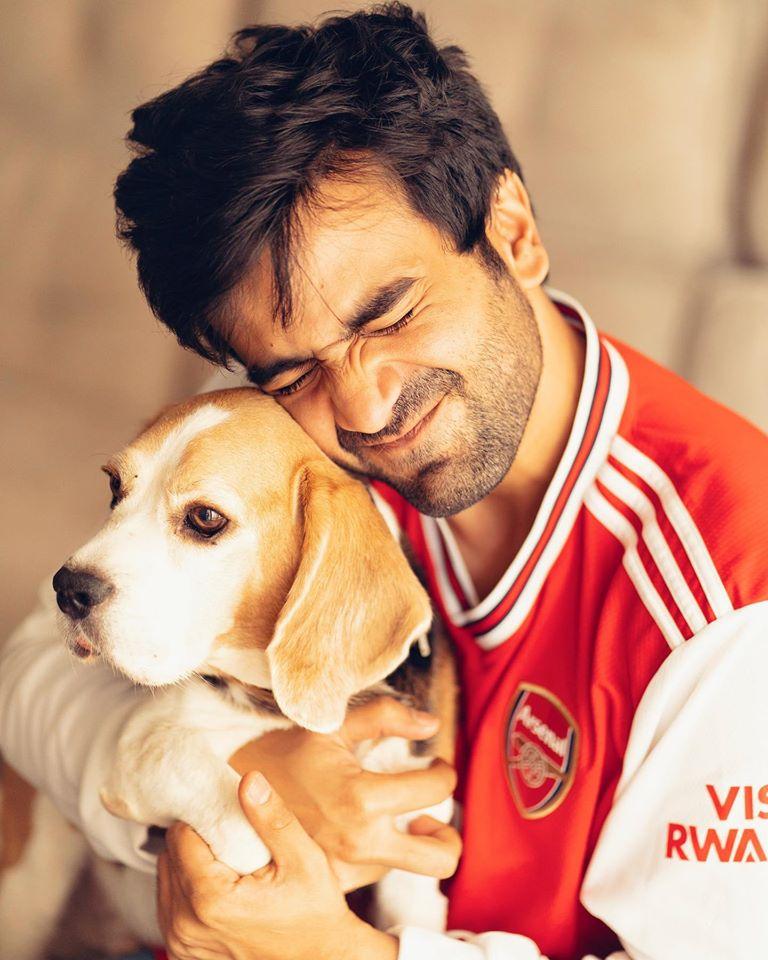 Ayush Mehra with his pet dog