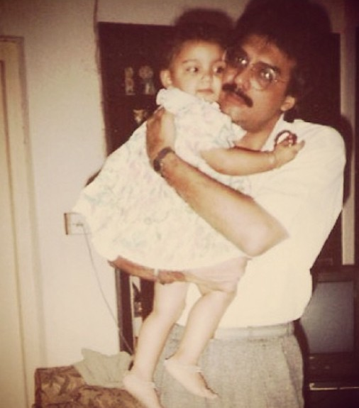 Miheeka Bajaj With her father childhood pic