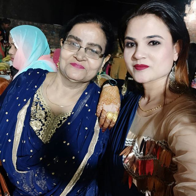 Nida Ahmad with her mother
