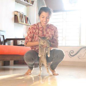 Niharika Lyra Dutt with her cat
