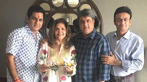 Pinky Roshan with her brothers