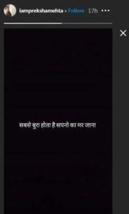 Preksha Mehta Instagram post