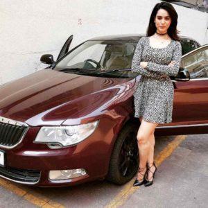 Soundarya Sharma with her car