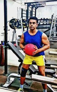 Sushant Sinha in gym