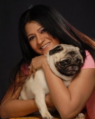 Usha Bachani with her pet dog
