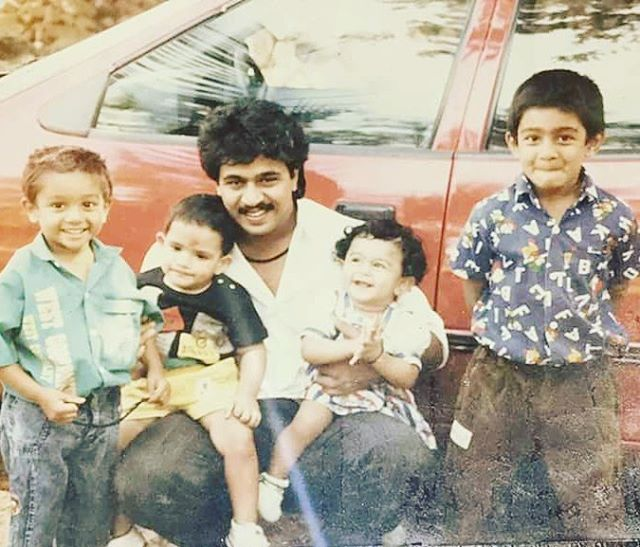 Chiranjeevi Sarja childhood pic with his father