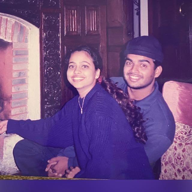 Sarita Birje with her husband R. Madhavan