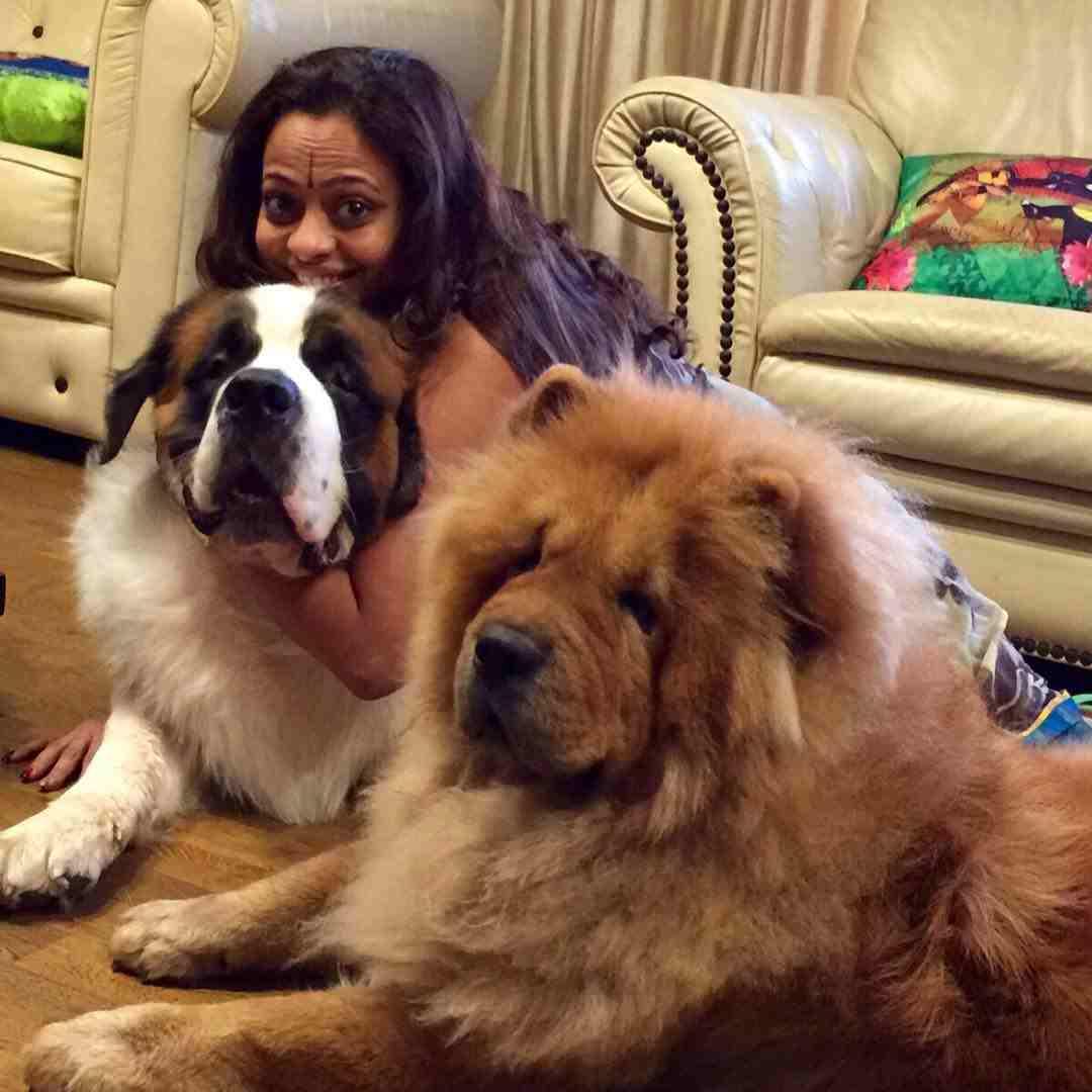 Sarita Birje with her pet dog
