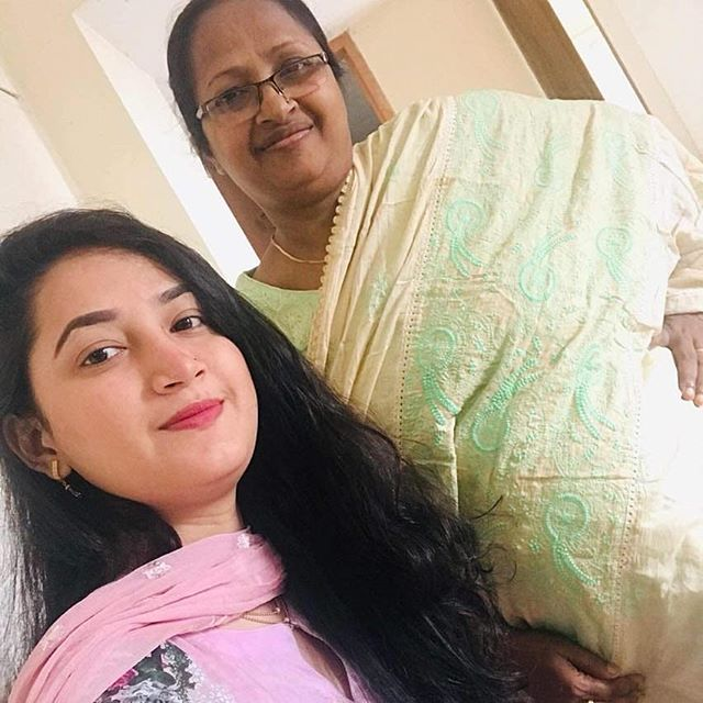 Shahedin Akther with her mother