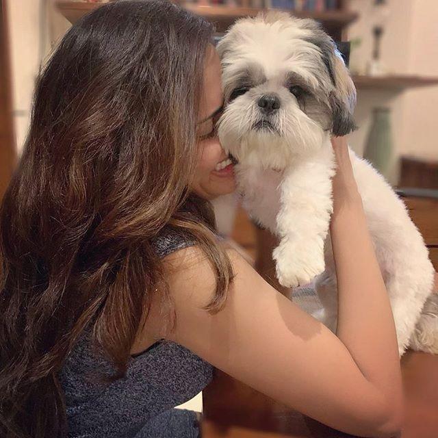 Akshara Gowda with her pet dog