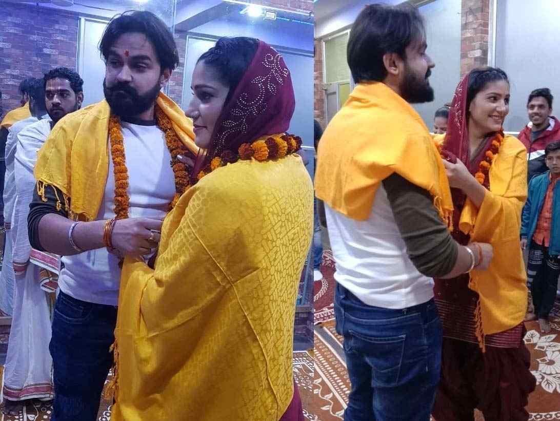 Veer Sahu with his wife Sapna Chaudhary