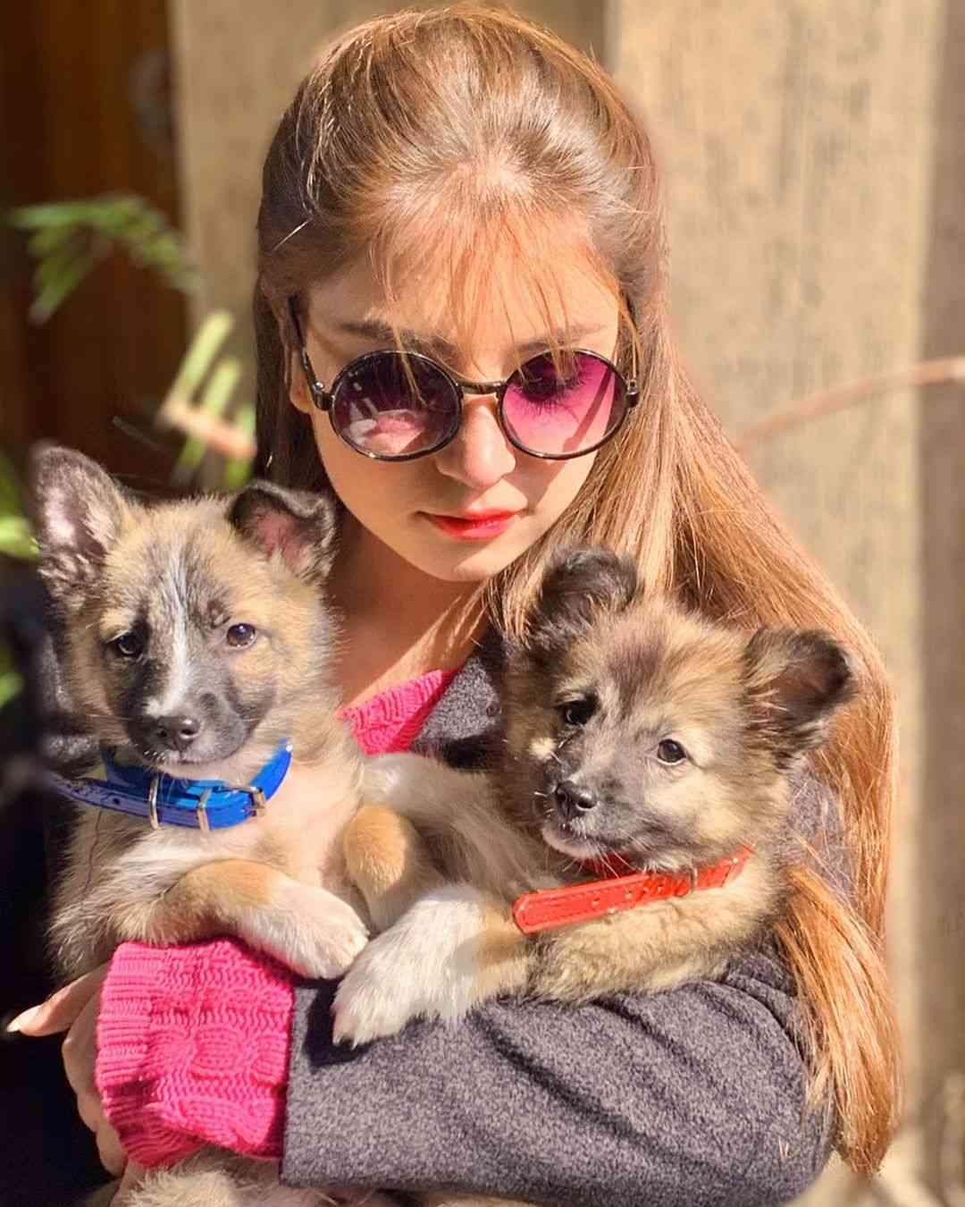 Dananeer Mobeen with her pet dog