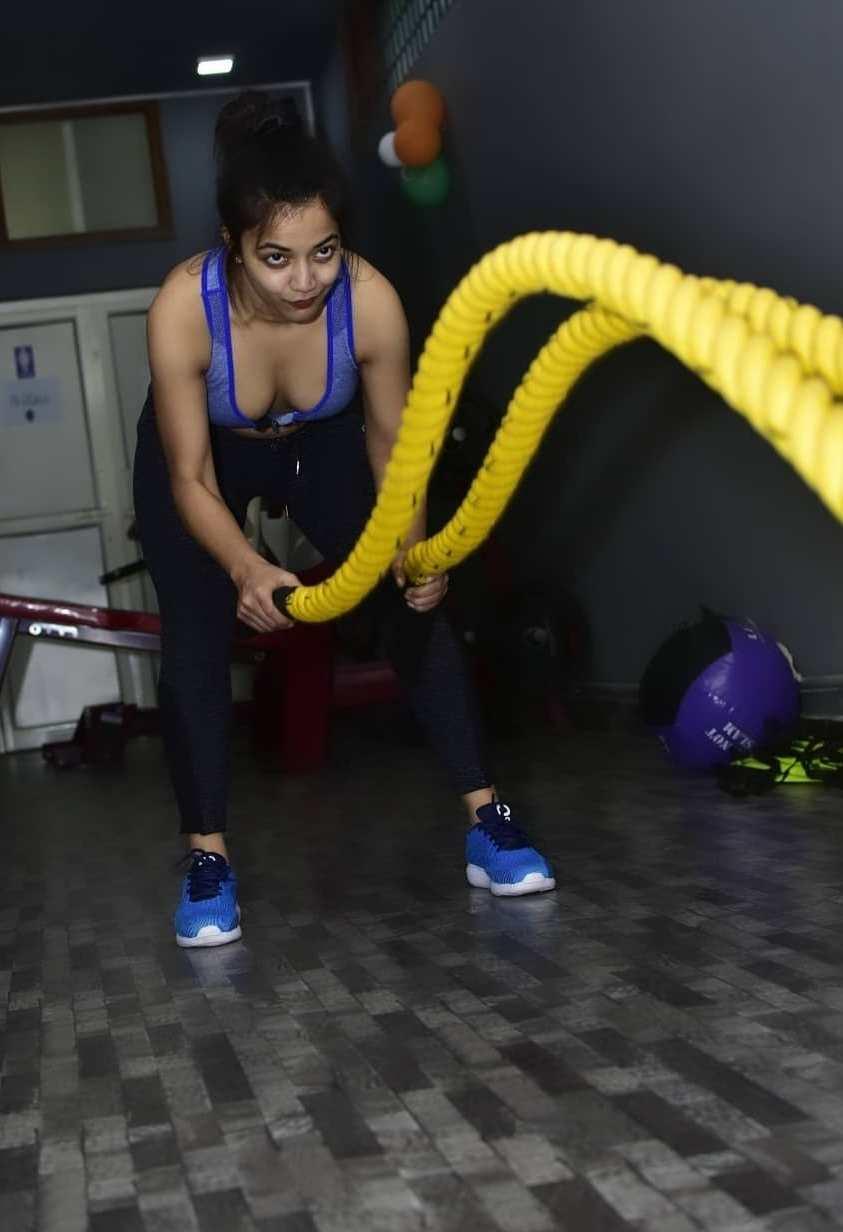 Mishti Basu in the gym