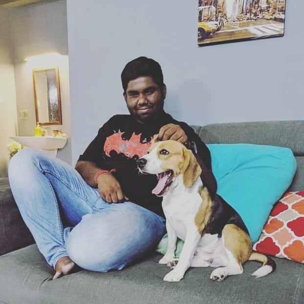 Harsha Chemudu with his pet dog
