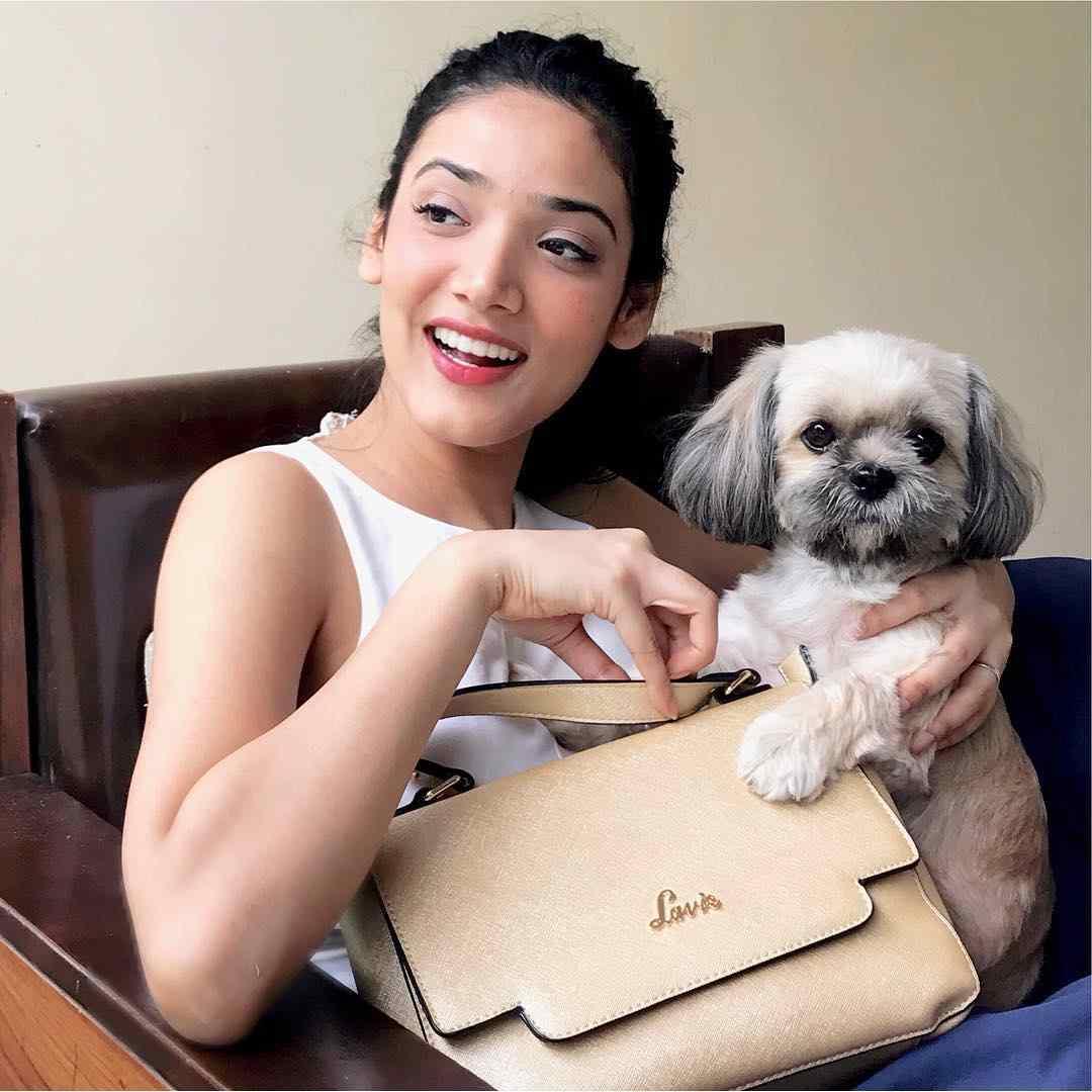 Medha Shankar with her pet dog